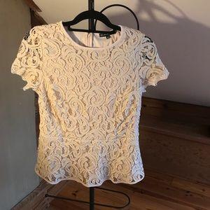 Adrianna Papell Cream Lace Peplum Top, EUC, M